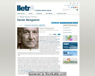Xavier Benguerel on the lletrA website in Catalan
