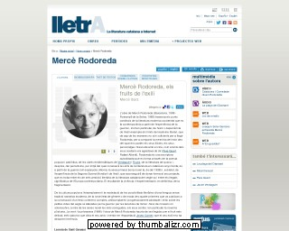 Mercè Rodoreda on the lletrA website in Catalan