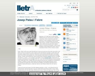 Josep Palau i Fabre on the Lletra website in Catalan
