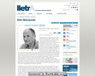 Biel Mesquida on the Lletra website in Catalan