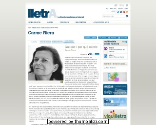 Carme Riera on the Lletra website in Catalan