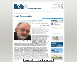 Jordi Sarsanedas on the Lletra website in Catalan
