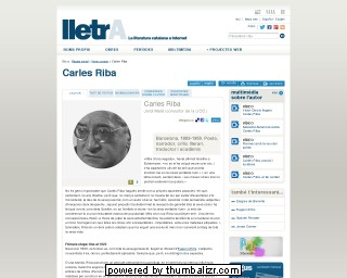 Carles Riba on the lletrA website in Catalan