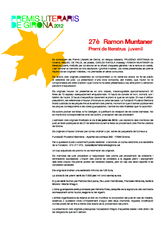 27è Premi de literatura juvenil Ramon Muntaner