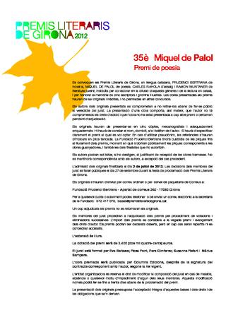 35è Premi de poesia Miquel de Palol