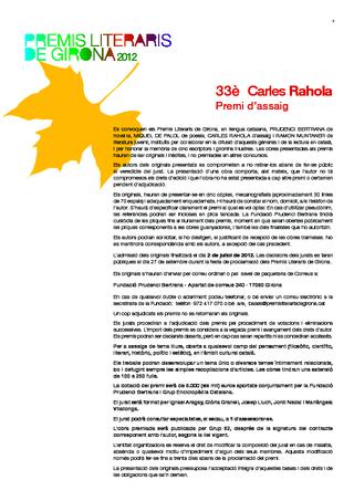 33è Premi d'assaig Carles Rahola