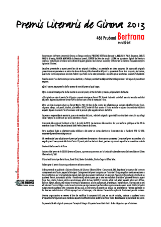 46è Premi de novel·la Prudenci Bertrana
