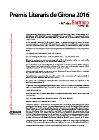 49è Premi de novel·la Prudenci Bertrana