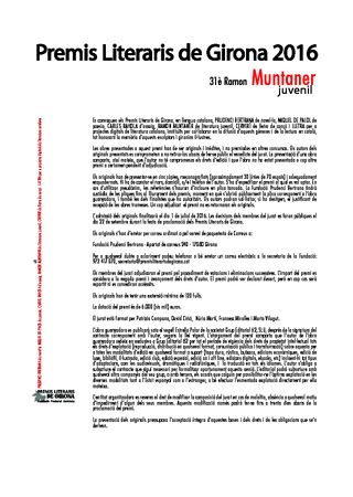 31è Premi de literatura juvenil Ramon Muntaner