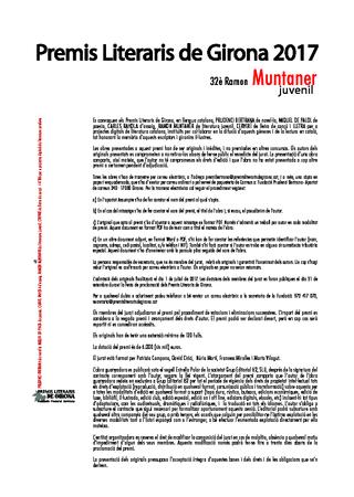 32è Premi de literatura juvenil Ramon Muntaner